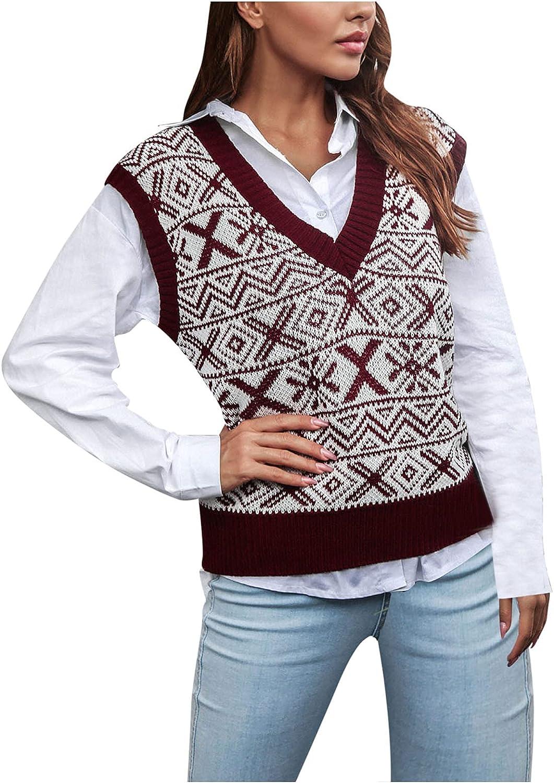 Sweater Vest Women Oversized Vintage V Neck Loose Sleeveless Sweaters Womens Fashion Knit Tops Casual 90s Knitwear Tank Top