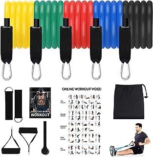 AceScreen resistensband set, träningsband med 5 fitnessrör, 2 handgrepp, dörrankare, ankelremmar, bärpåse för motståndsträ...
