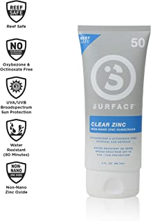 Surface Clear Zinc Sunscreen Lotion - Reef Safe, Broad Spectrum UVA/UVB Protection, Physical Sun Protection, Cruelty Free, Hypoallergenic, Ultra Water Resistant - SPF 50 (1 Count, 3oz)