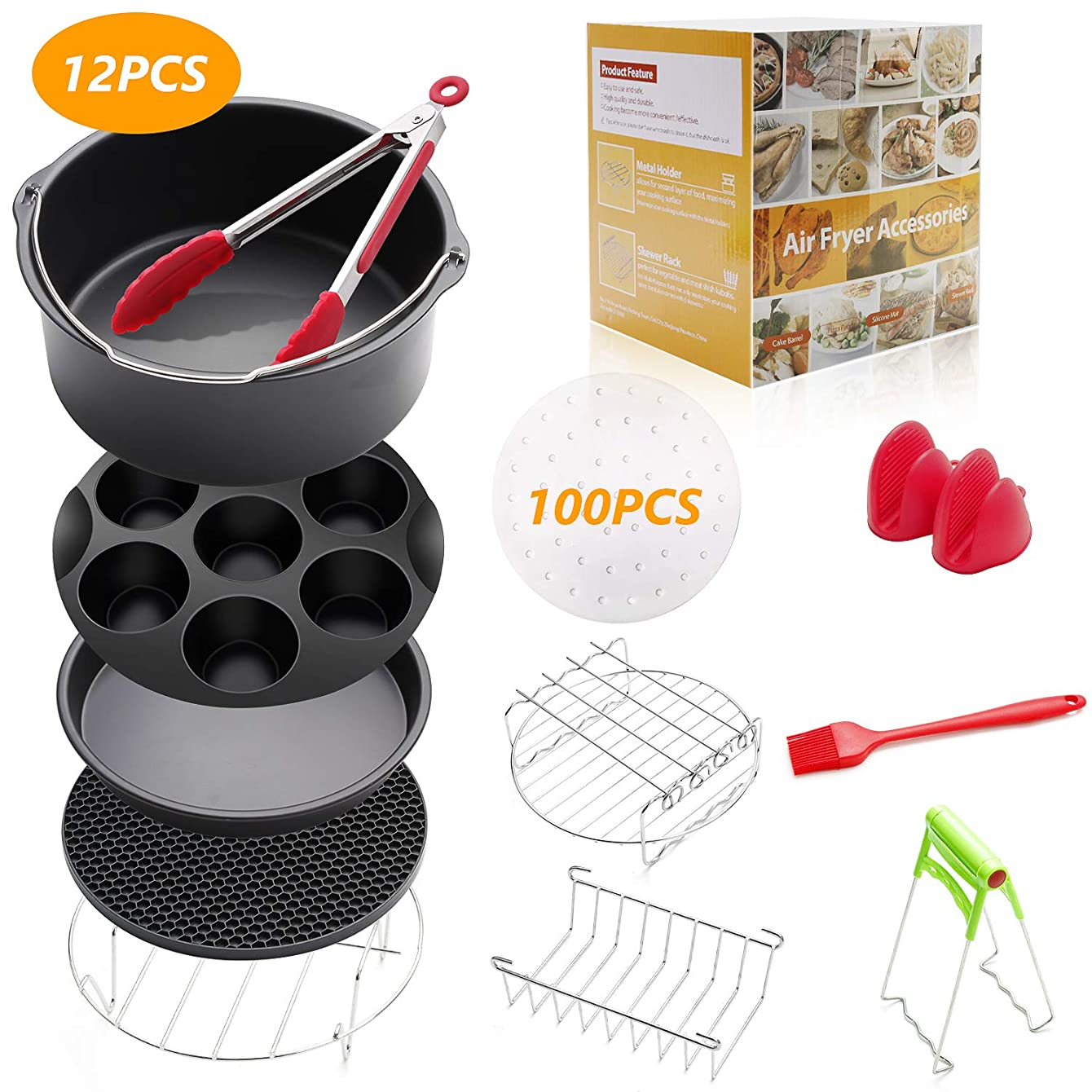 8 inch Air Fryer Accessories 12 Pcs for Gowise Phillips Cozyna Airfryer XL 4.2QT-5.8QT, Deep Fryer Accessories Set of 12 pactdwxgwlibt61