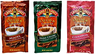 Land O Lakes Chocolate Cocoa Classics Mix 3 Flavor 12 Count Sampler Bundle, (4) each: Mocha, Irish Creme, Cinnamon (1.25 Ounces)