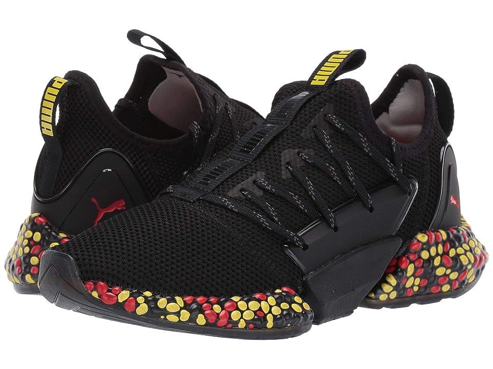 Puma Kids Hybrid Rocket Runner (Big Kid) (Puma Black/Blazing Yellow/High Risk Red) Boys Shoes