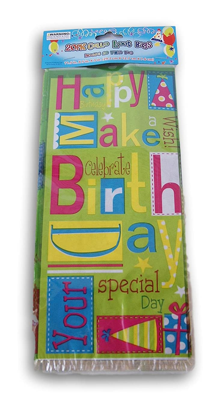 Happy Birthday Treat Bags with Twist Ties - 20 count
