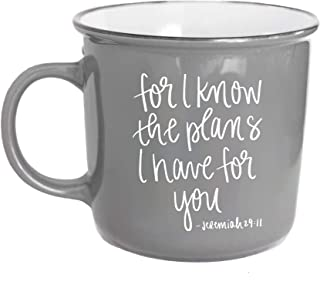 For I Know The Plans Jeremiah 29:11 Coffee Mug Grey 14oz Christian Mugs Religious Mugs For Women Coffee Cup Bible Verse Scripture Inspirational Coffee Mugs For Women Christian Mug Religious