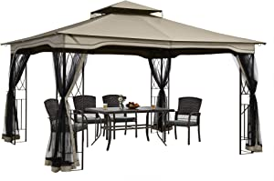 PAMAPIC 12x10 Gazebo Canopy Tent, for Sun and rain with Skylight and Mosquito net, Waterproof Soft Metal roof Pavilion, for Lawn, Garden, Backyard and Deck (Topaz)