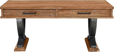 Benjara 2 Drawer Wooden Cocktail Table with Metal Wishbone Legs, Brown and Gray
