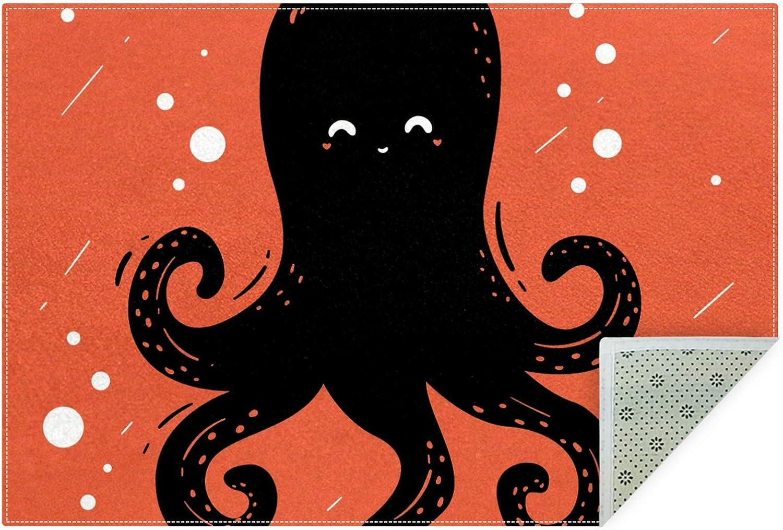 Unicey No-Shedding Non-Slip Machine Finally resale start Fashion Rectan Cute Octopus Washable