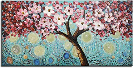 Modern Art 100% Hand Painted Framed Home Wall Decor Art Blooming Flower Tree 3D Oil Painting Abstract Artwork Cherry Blossoms Pink Flowers Blue Teal Colourful Starry Night Sky Living Room Decoration