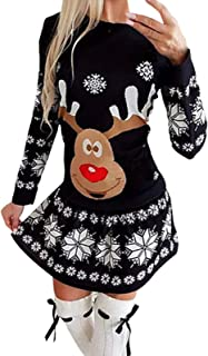 MGCG Vestidos elásticos de Manga Larga con Cuello Redondo y Estampado navideño con Copo de Nieve para Mujer Mini Vestido D...