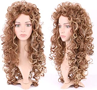 26 Inch Long Curly Lolita Cosplay Wigs Japanese Synthetic Full Wig for Women Girls Messy Wavy Highlighted Hair Wig Golden Brown Bleach Blonde Mix