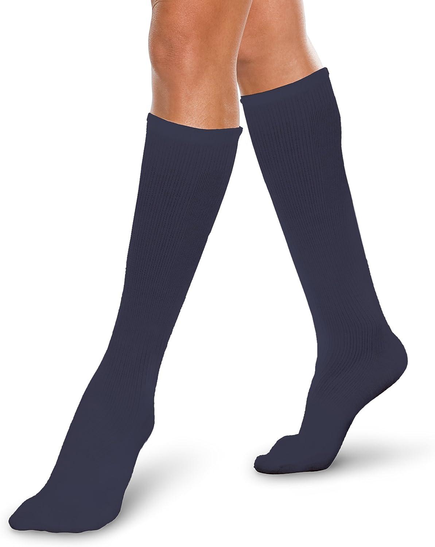 Therafirm CoreSpun Medical Compression Socks Therafirm LIGHT Graduated Knee High FTherafirm LIGHT Compression Socks (Navy, Large, 1015mmHg)
