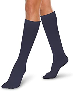 Therafirm Core-Spun Medical Compression Socks -Therafirm LIGHT Graduated Knee High FTherafirm LIGHT Compression Socks (Navy, Large, 10-15mmHg)