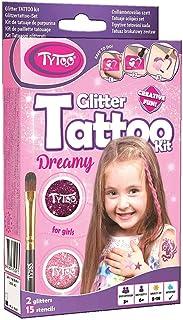 Tytoo Glittertattooset voor meisjes met 15 sjablonen, hypoallergeen en gaat tot 18 dagen mee