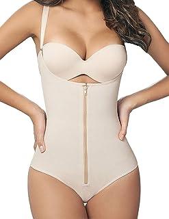Camellias Women's Seamless Firm Control Shapewear Open Bust Bodysuit Body Shaper Black