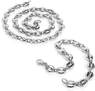 AURSTORE® Parure Bracelet ET Chaine Homme Acier INOX Massif Grain DE CAFÉ,Collier Biker,Taille et Couleurs au Choix