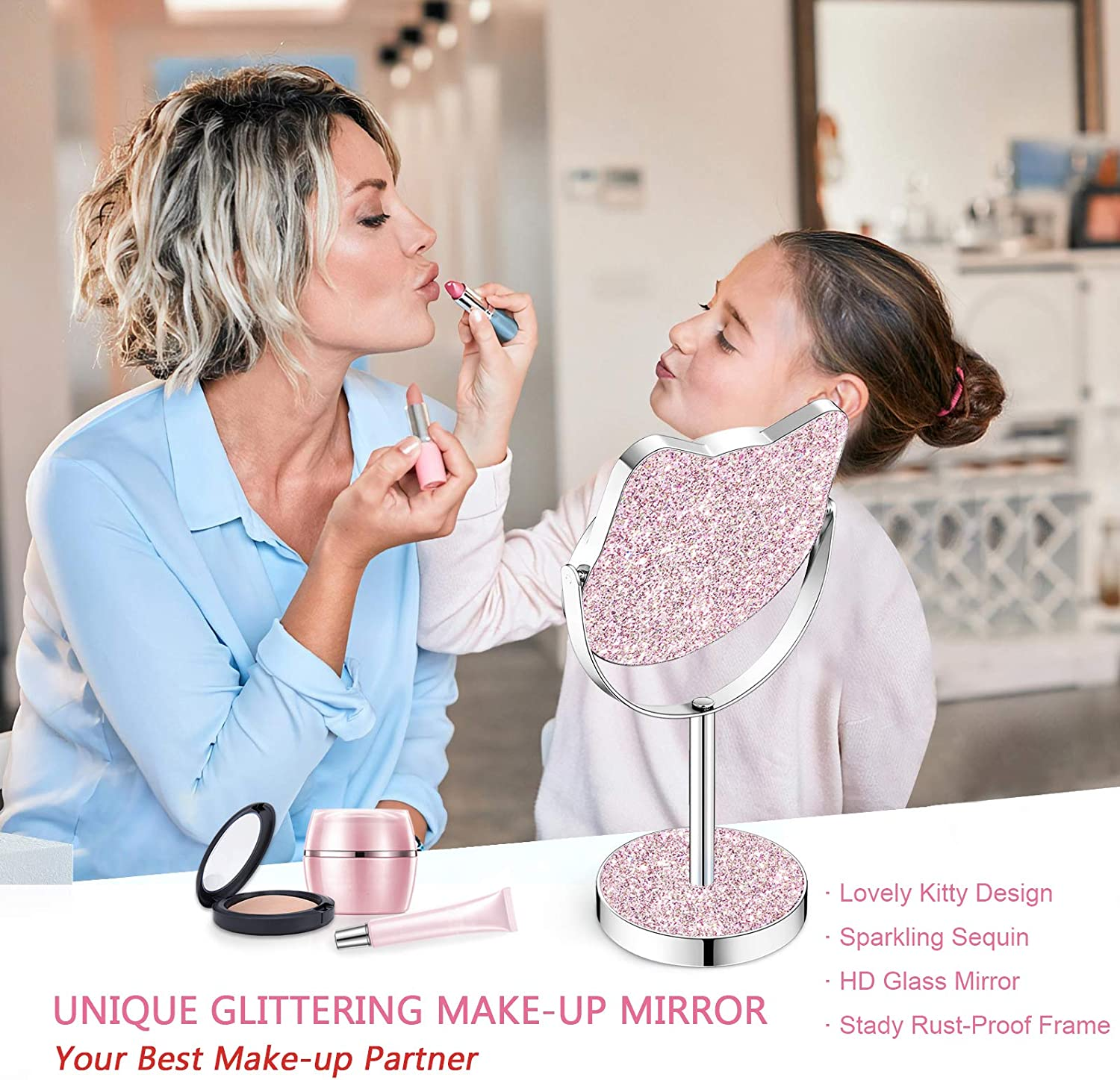 High Definition Dressing Table Mirror Glittering Sequins Bedroom Desk Mirrors Valentines Galentine/'s Day Gifts for Girls Derui Creation Makeup Mirror for Women