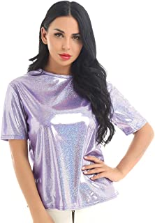 Women's Crew Neck Short Sleeve T Shirt Shiny Sequins Loosen Casual Tunic Tops