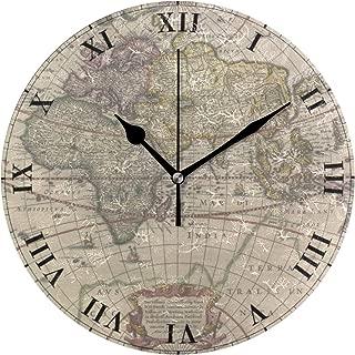 MIKA古代世界地図 掛け時計 置き時計 兼用 インテリア 連続秒針 壁掛け時計 静音 寝室 部屋 壁掛時計 おしゃれ 25cm 掛時計