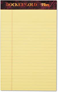 TOPS 63900 Docket Ruled Perforated Pads, Narrow Rule, 5 x 8, Canary, 50 Sheets (Pack of 12)