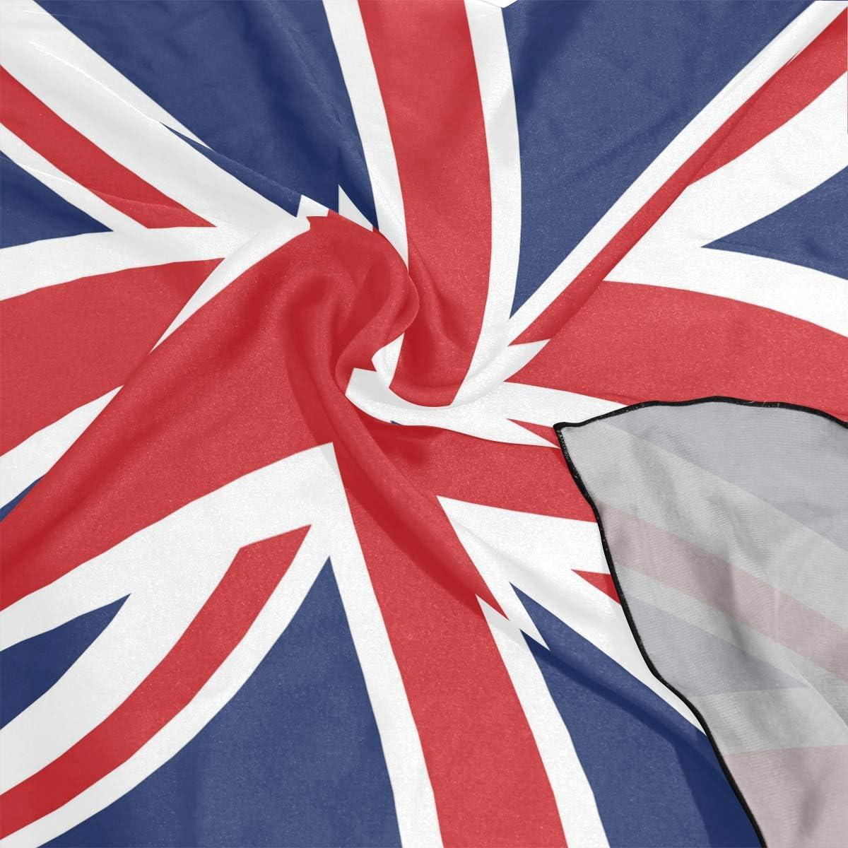 XLING Fashion Square Scarf British Union Jack Flag Stripe Lightweight Sunscreen Scarves Muffler Hair Wrap Headscarf Neckerchief for Women Men