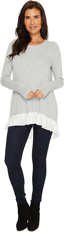 Mod-o-doc - So Soft Sweater Knit Long Sleeve Sweater with Pleated Contrast Hem
