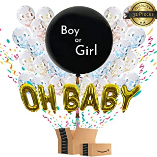 Gender Reveal Balloon | (31 Pieces) | w/Pink and Blue Confetti | Clear Balloons w/Confetti Inside | Oh Baby Balloon | Gender Reveal Decorations | Gender Reveal Party Supplies | Gender Reveal Ideas