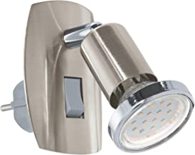 EGLO Socket spot Mini, 1 lamp stekkerlamp, stekkerlamp van staal, kleur: nikkel mat, chroom, fitting: GU10, incl. schakelaar
