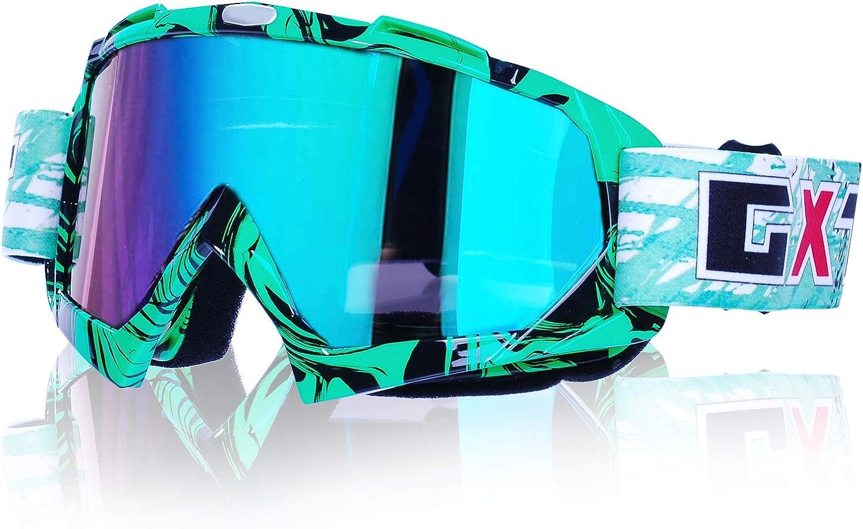 Gafas de motocross, Motocicleta Anti viento Polvo UV Dirt Bike Racing Riding Ciclismo Esquí Gafas al aire Libre Gafas para adultos jóvenes (Marco verde + Lente colorida)