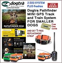 Dogtra 2 Dog Pathfinder Mini GPS Track and Train System for Smaller Breed Dogs GET 1 Free Replacement Strap and Flea Comb