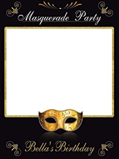 Masquerade mask Party Photobooth, Mardi Gras, Masquerade Ball, Mask Party, Personalized Selfie Frame Photo Booth, Mardi Gras- Size 36x24, 48x36 Handmade Party Supply Photo Booth Props
