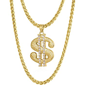 Gold Chain For Men With Dollar Sign Pendant Necklace Style A 24 Length Amazon Com