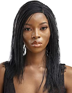 JBG Services Authentic African Braided Wigs - Micro Twist Wig for African American Women - Lace Closure Finishing for Natural-Look Hairline - 2 Hair Pins Included - 12 Inch, Black Color 1
