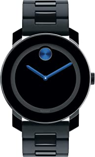 Movado Men's BOLD TR90 Watch with a Sunray Dot Black Dial, Black/Blue (Model 3600099)