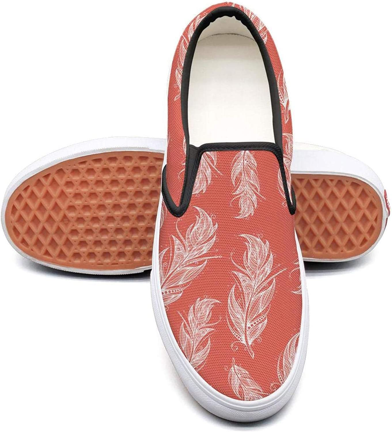 Red Tribal Feather Slip On Superior Comfort Sneakers Canvas shoes for Women Fashion
