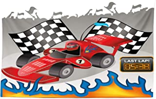 Lunarable Cars Tapestry, Race Car with Finish Line Flags Pilot and Flames with Abstract Grey Background Print, Fabric Wall Hanging Decor for Bedroom Living Room Dorm, 45