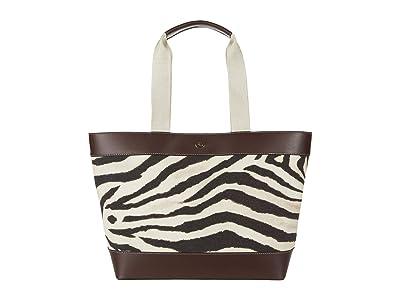 LAUREN Ralph Lauren Printed Canvas Harper 35 Tote Medium (Zebra) Handbags