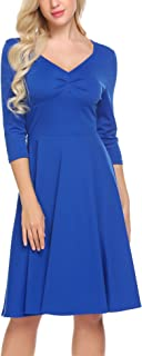 Burlady Women's Casual V Neck 3/4 Sleeve A Line Cocktail Swing Dress