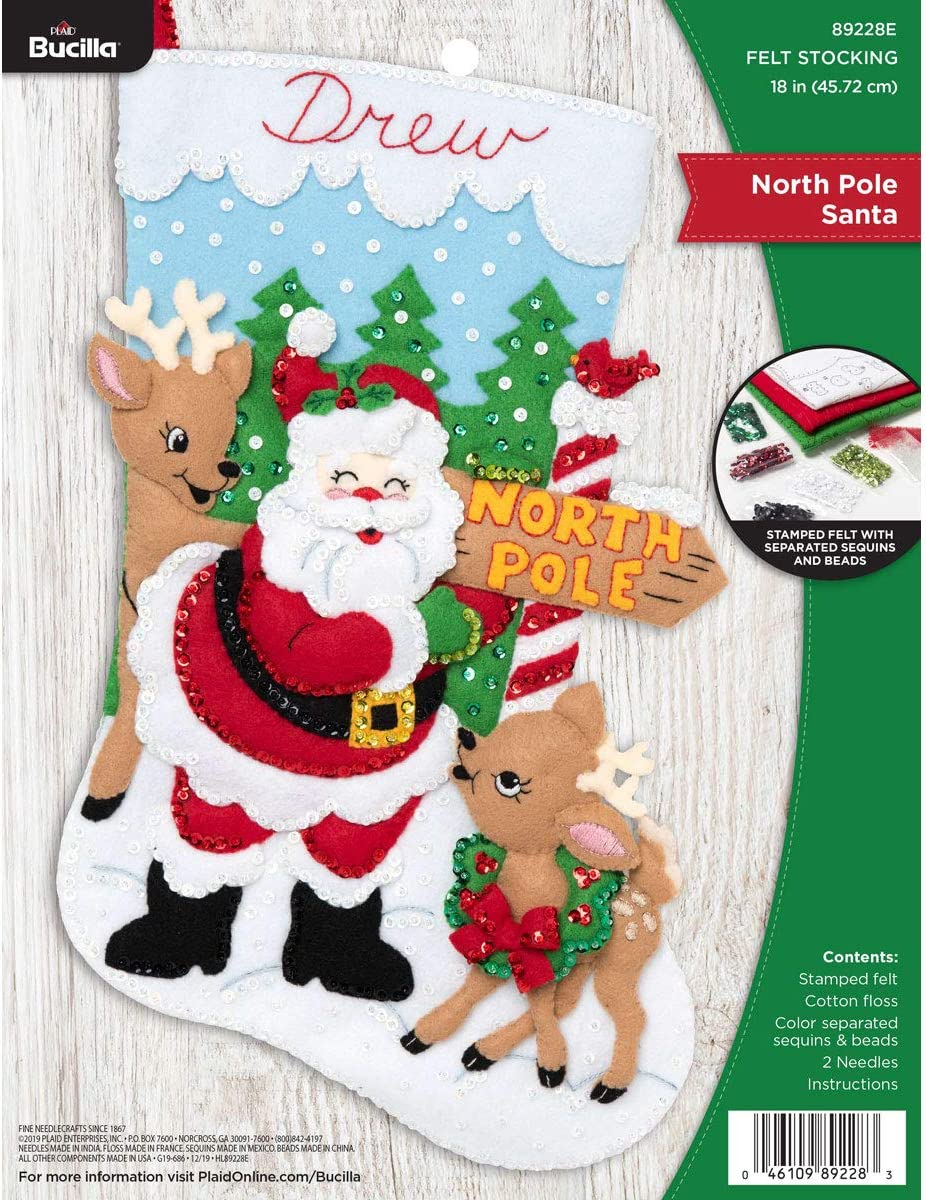 Bucilla Felt Applique Christmas Stocking Sa Pole Kit 18