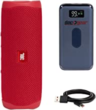 JBL Flip 5 Portable Bluetooth Speaker (Red) with Deco Gear Power Bank Bundle