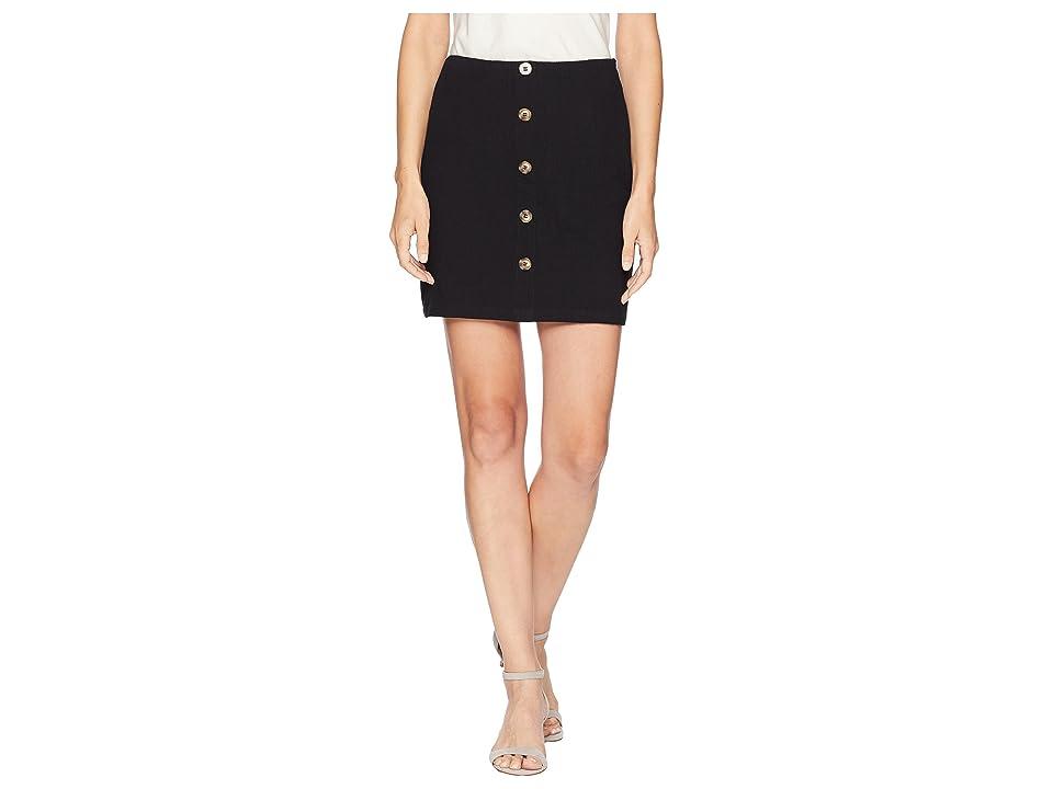 J.O.A. Button Down Pencil Skirt (Black) Women