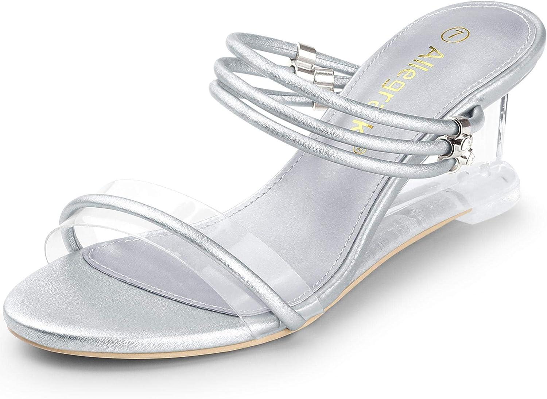 Allegra K Women's Low Wedges Clear Heel Sandals