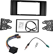 DKMUS Dash Installation Trim Kit for BMW 5 Series E39 1995-2003 X5 E53 1999-2006 Facia Double Din Radio Stereo DVD with Wiring Harness Antenna Adapter