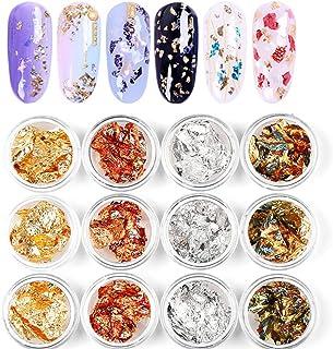 12 Boxes Nail Sparkle Decoration Supplies Gold Flakes for Resin Silver Copper Rainbow Foil Paillette Chip Foil Metallic Sh...