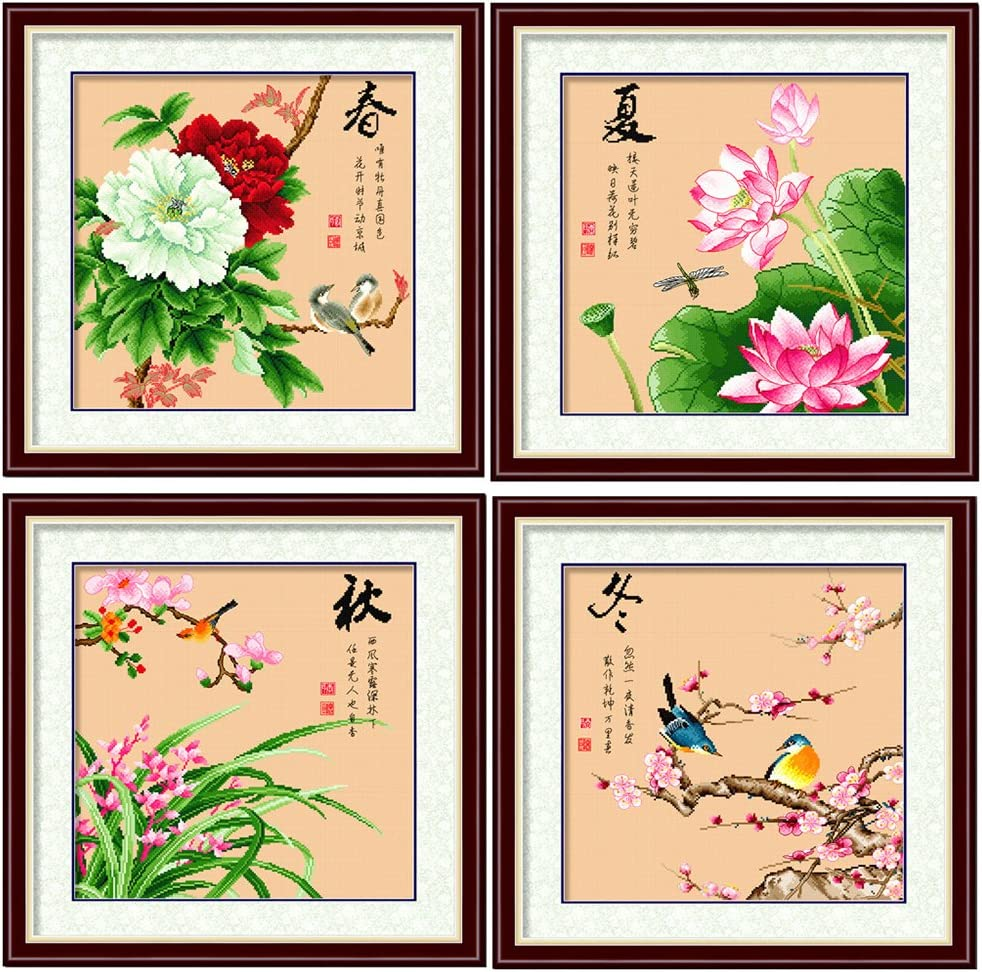 DOMEI 35% OFF Stamped Cross Stitch Kit Our shop OFFers the best service Four birds seasons and flowers