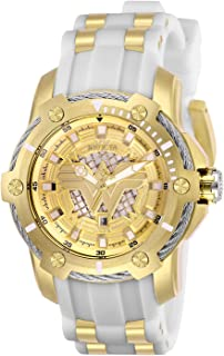 Invicta Women's DC Comics Stainless Steel Quartz Watch with Silicone Strap, White, 22 (Model: 26835)