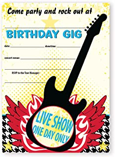 POP parties Rock Star Party Large Invitations - 10 Invitations 10 Envelopes