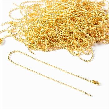 【お盆も発送!】 紗や工房 ハンドメイドのアクセサリー作りに ボールチェーン12cm 1mm玉 金・ゴールド 50本set