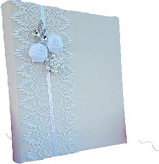 Towdah Perez Vintage White lace Flowers and brooches Ivory Leather Wedding Album. 3-Ring Binder Photo Album with refillable Pages. 4x6, 5x7, 8x10 Photos. Customizable and personalizable