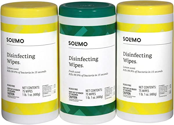 Amazon Brand Solimo Disinfecting Wipes Lemon Scent Fresh Scent 75 Wipes Each Pack Of 3
