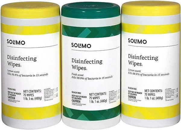 亚马逊品牌 Solimo 消毒湿巾柠檬香味清新香味 75 湿巾每包 3